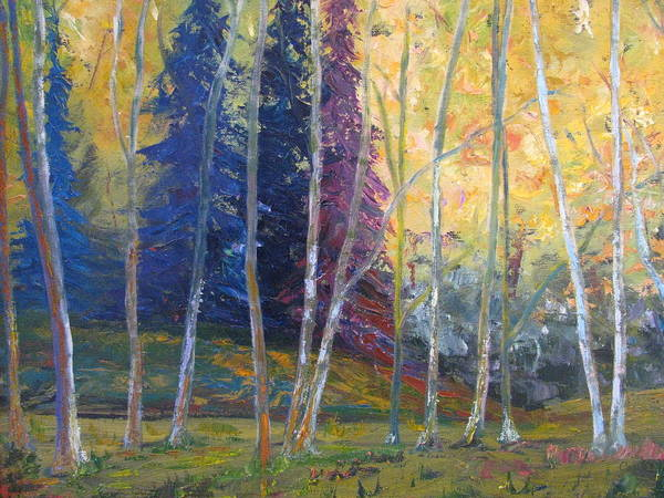Impressionist Landscape Poster featuring the painting Forest At Twilight by Belinda Consten