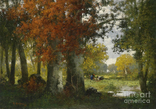 Adolf Kaufmann Poster featuring the painting Forest Clearing With Women Gathering Brushwood by Celestial Images