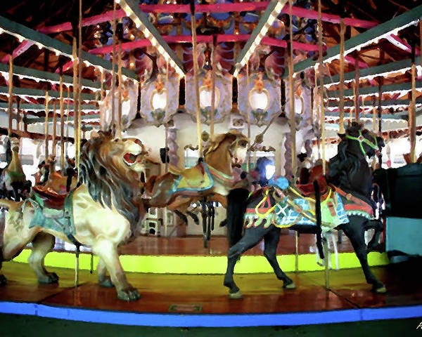 Carousel Poster featuring the mixed media Forest Park Carousel by Peggy De Haan