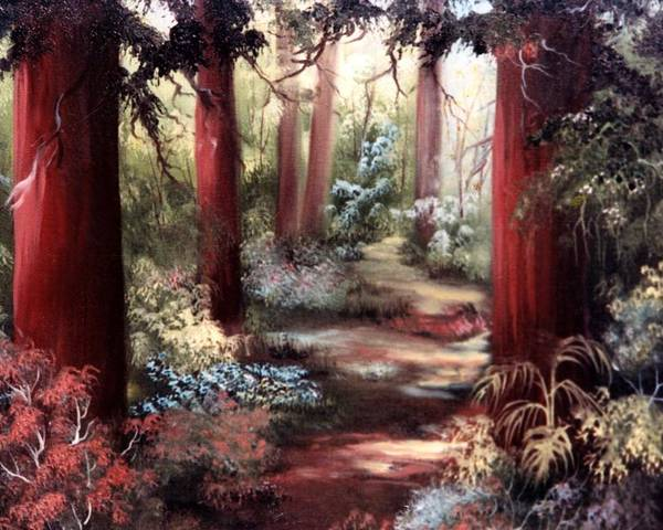 Oil Painting Poster featuring the painting Forest Path by Joni McPherson