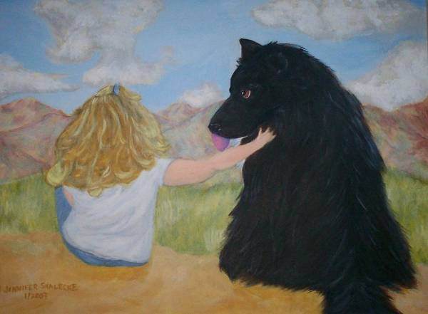 Dog Poster featuring the painting Forever Friends by Jennifer Skalecke