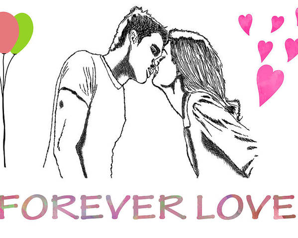 Love Poster featuring the digital art Forever Love by Khajohnpan Sauychalad