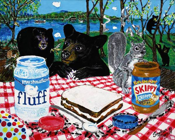 Marshmallow Poster featuring the painting Forgotten Fluffernutter by Jonathan Morrill