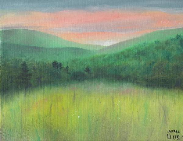 Landscape Poster featuring the painting Forgotten Meadow by Laurel Ellis
