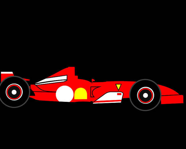 Ferrari Poster featuring the digital art Formula One Ferrari by Asbjorn Lonvig