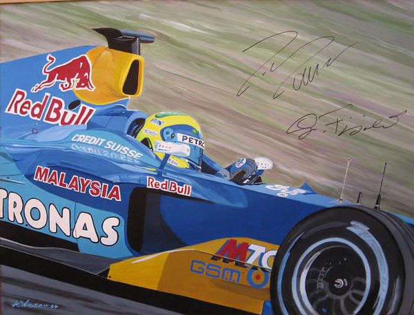 Race Car Poster featuring the painting Formula One Racing Car Sauber Petronas by Antje Wieser