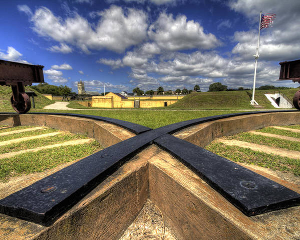 Fort Poster featuring the photograph Fort Moultrie Cannon Tracks by Dustin K Ryan