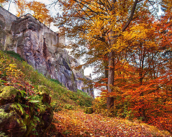 Fortification Koenigstein Poster featuring the photograph Fortification Koenigstein In Autumn Time by Jenny Rainbow