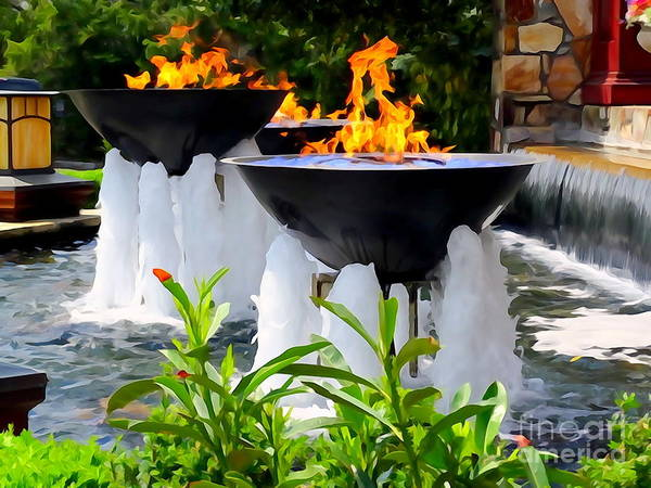 Digital Art Poster featuring the photograph Fountains Of Fire by Ed Weidman