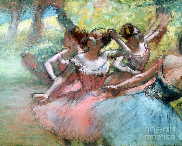 4 Poster featuring the pastel Four Ballerinas On The Stage by Edgar Degas