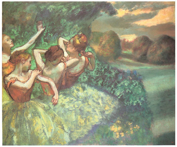 Four Dancers Poster featuring the pastel Four Dancers by Edgar Degas