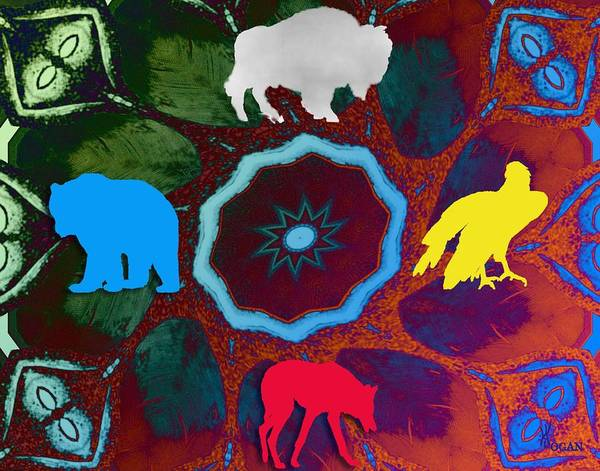 Wildlife Poster featuring the digital art Four Directions  -009 by Will Logan