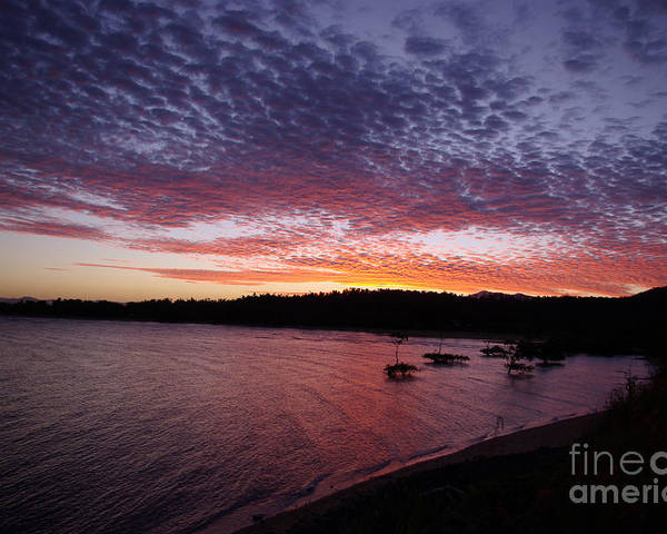 Landscape Poster featuring the photograph Four Elements Sunset Sequence 1 Coconuts Qld by Kerryn Madsen - Pietsch