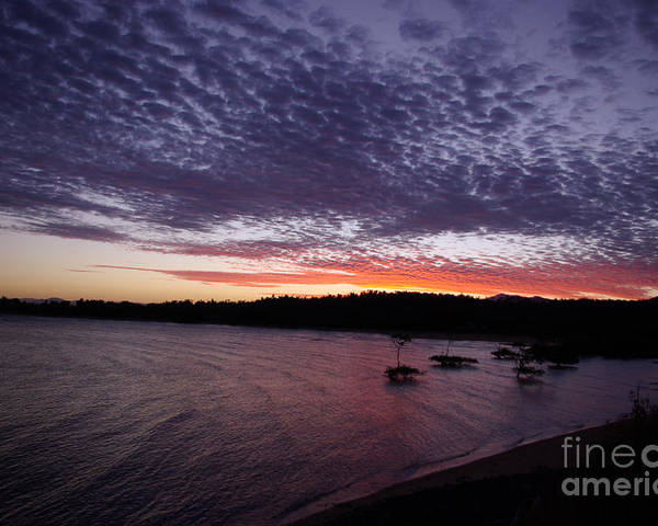 Landscape Poster featuring the photograph Four Elements Sunset Sequence 7 Coconuts Qld by Kerryn Madsen - Pietsch