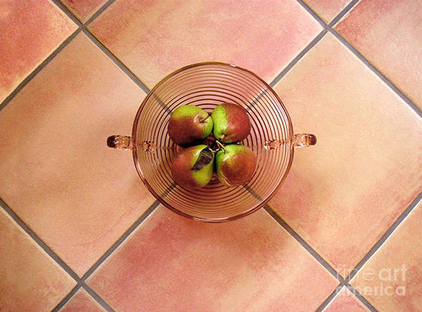 Nature Poster featuring the photograph Four Pears In A Bowl On Tile by Lucyna A M Green