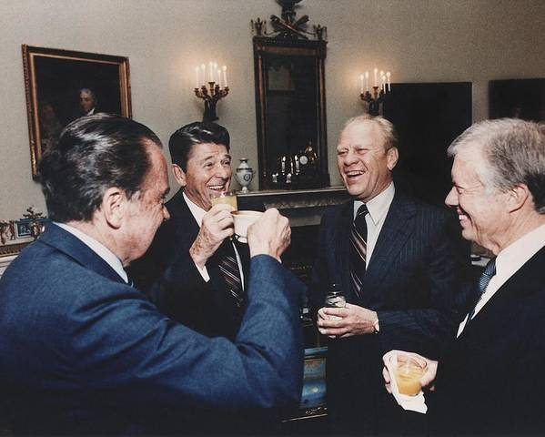 History Poster featuring the photograph Four Presidents Nixon Reagan Ford by Everett