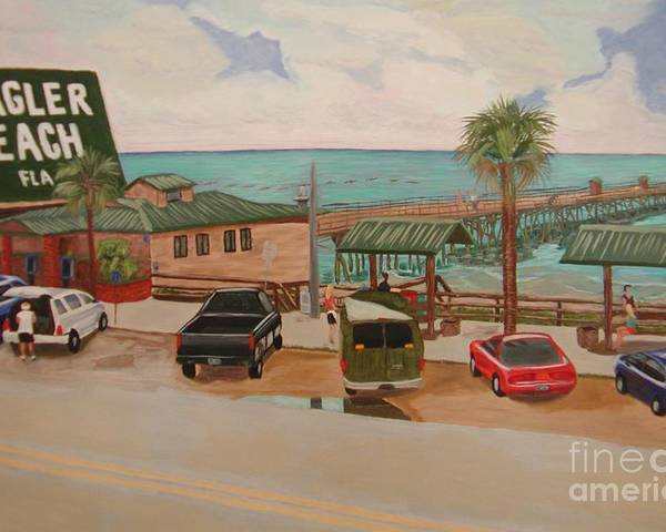 Landscape Poster featuring the painting Four Vignettes At The Pier by Sodi Griffin