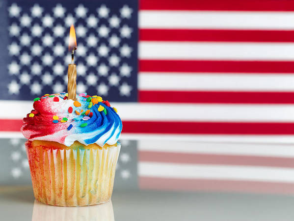 Holiday Poster featuring the photograph Fourth Of July Cupcake With Light Candle by Thomas Baker