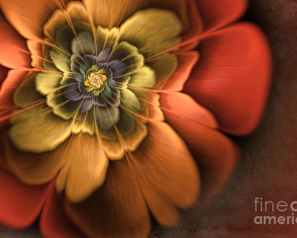 Flame Fractal Poster featuring the digital art Fractal Pansy by John Edwards