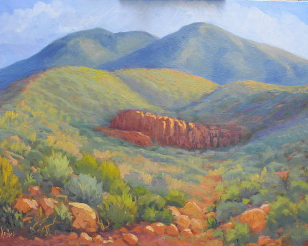 Landscape Poster featuring the painting Franklin Mountain Morning by Bob Adams