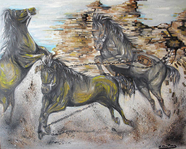 Horses Poster featuring the painting Free Me by Rana King