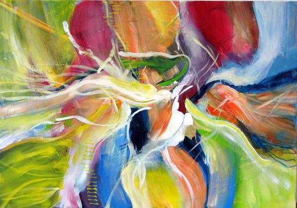 Abstract Painting Full Of Live Vibrant Colors Named: Freedom Poster featuring the painting Freedom by Dan Bunea