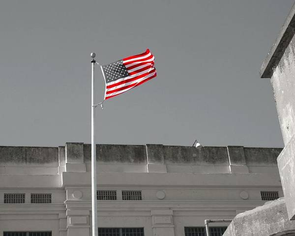 Flag Poster featuring the photograph Freedom In Prison by Michael Bergman