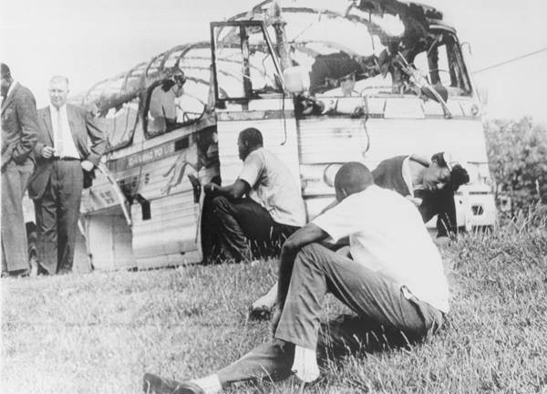 History Poster featuring the photograph Freedom Riders Bus Was Destroyed by Everett
