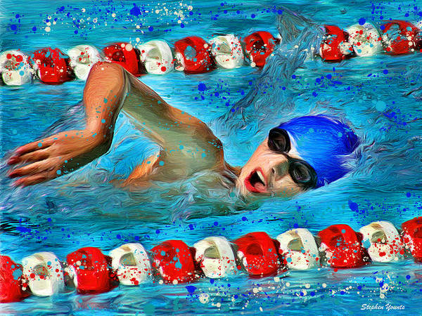 Swimmer Poster featuring the digital art Freestyle by Stephen Younts