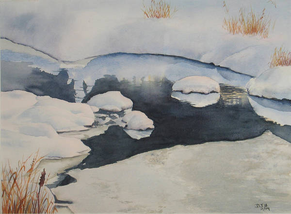 Winter Poster featuring the painting Freeze Up by Debbie Homewood