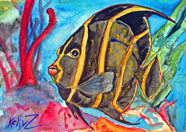 Fish Poster featuring the painting French Kiss-juvenile French Angelfish by Kelly   ZumBerge