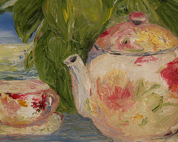 Konkol Poster featuring the painting French Teapot by Lisa Konkol