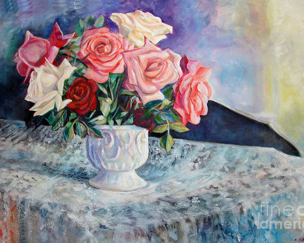Still Life Poster featuring the painting Fresh Roses by Nancy Isbell
