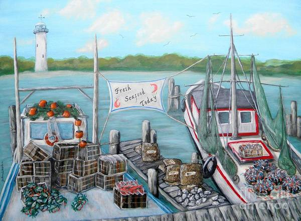 Coast Poster featuring the painting Fresh Seafood by JoAnn Wheeler