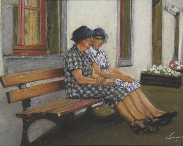Female Friends Poster featuring the pastel Friends Seated In Bench by Leonor Thornton