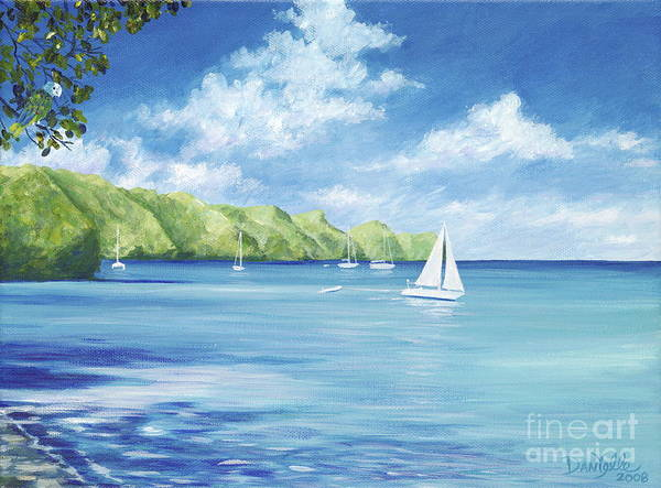 Nautical Seascape Poster featuring the painting Friendship Bay by Danielle Perry