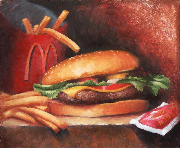 Burger Poster featuring the painting Fries With That by Timothy Jones