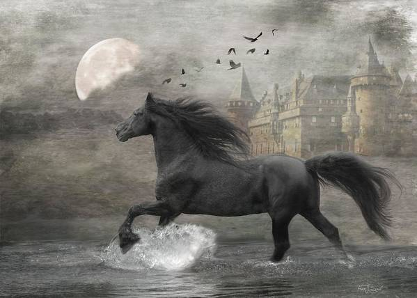 Black Horse Poster featuring the digital art Friesian Fantasy by Fran J Scott