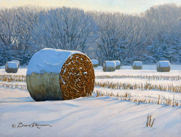 Landscape Painting Poster featuring the painting Frigid Morning Bales by Bruce Morrison