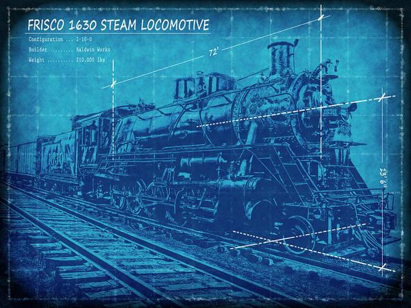 Frisco locomotive 1630 blueprint 2 poster by daniel hagerman blueprint poster featuring the digital art frisco locomotive 1630 blueprint 2 by daniel hagerman malvernweather Gallery