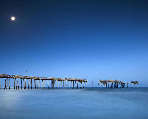 Frisco Pier Poster featuring the photograph Frisco Pier Cape Hatteras Outer Banks Nc - Crossing Over by Dave Allen