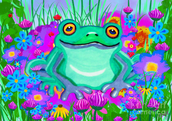Frog Poster featuring the painting Frog And Spring Flowers by Nick Gustafson