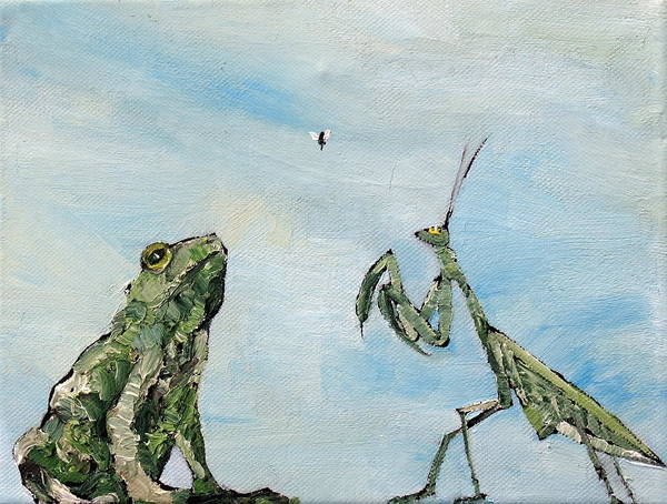 Frog Poster featuring the painting Frog Fly And Mantis by Fabrizio Cassetta