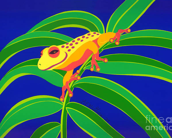 Nature Poster featuring the drawing Frog On Branch by Lucyna A M Green