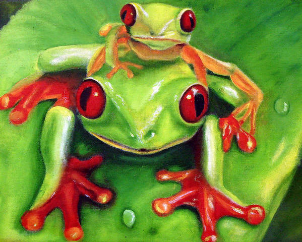 Red Eyed Tree Frog Poster featuring the painting Frog Rodeo by Darlene Green