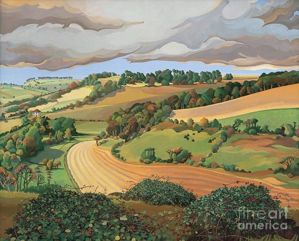 View; Vista; English Landscape; Somerset; Cotswolds; Little Solsbury Hill; Cloudy; Inclement; Fields; Ploughed; Countryside; Rural; Farmland; Summer; Hill; Hills; Tree; Trees; Bush; Leafs; Farmland Poster featuring the painting From Solsbury Hill by Anna Teasdale