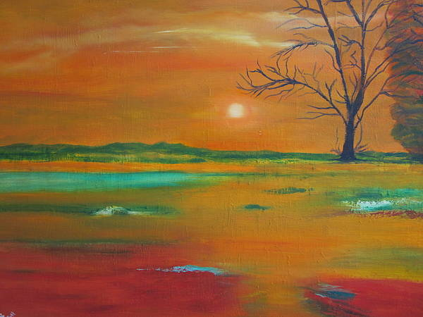 Landscape Poster featuring the painting From The Hills To The Plains by Niranjan Vaswani