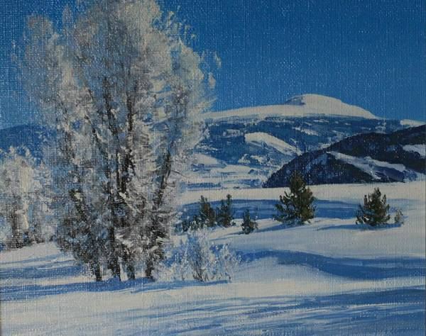 Landscape Poster featuring the painting Frost Tapestry by Lanny Grant