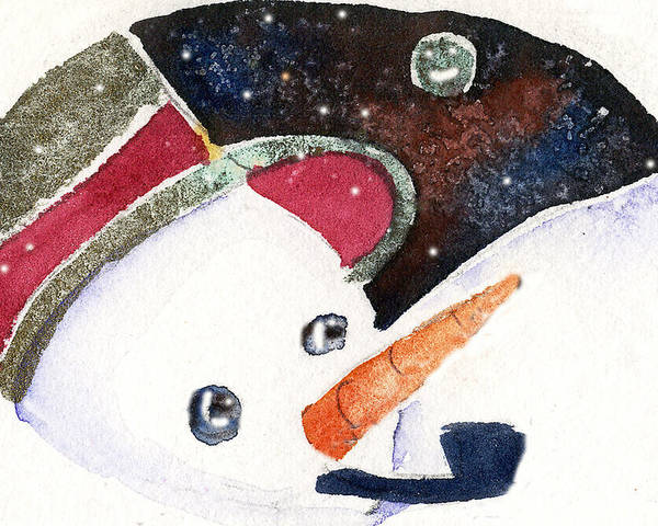 Christmas Poster featuring the painting Frosty And The Moon by Mindy Newman