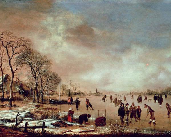 Frozen Poster featuring the painting Frozen Canal Scene by Aert van der Neer